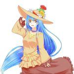 amber_eyes blue_hair cro_cell gold_eyes hat highres jewelry long_hair m.u.g.e.n mugen mugen_(game) nanikoro necklace night_wizard skirt smile solo sun_hat transparent_background very_long_hair yellow_eyes