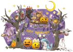 bare_tree bat broom candy capcom chameleos chibi creature crescent_moon english genprey ghost gigginox halloween happy_halloween hat hood jack-o'-lantern jack-o'-lantern khezu khezu_whelp lagiacrus lollipop minimized monster monster_hunter monster_hunter_3 moon nargacuga no_humans pumpkin robe scarf sitting star swing tigrex tree velociprey witch_hat yakiudon yian_garuga yian_kut-ku