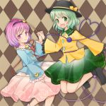 argyle argyle_background ascot brown_background dress green_hair hairband hat heart komeiji_koishi komeiji_satori lowres multiple_girls purple_hair sayo_(pixiv2776630) shoes short_hair siblings sisters third_eye touhou