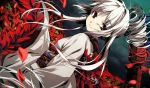 flower flowers g_yuusuke game_cg gray_hair japanese_clothes kajiri_kamui_kagura red_eyes