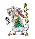 blood bow caved dress ex-keine fujiwara_no_mokou green_hair hair_bow horns kamishirasawa_keine kousei_(public_planet) long_hair multiple_girls publicplanet ribbon silver_hair skirt tail touhou translated translation_request very_long_hair