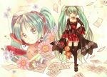 1girl character_name dress earrings flower green_eyes green_hair hair_ribbon hand_on_hip hatsune_miku jewelry long_hair musical_note rabbit ribbon sheet_music solo stuffed_animal stuffed_toy thigh-highs tsubasa_(neko283) twintails very_long_hair vocaloid