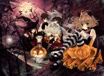 5boys alexa_pasztor animal_ears bare_tree bat black_hair blonde_hair brown_eyes brown_hair elbow_gloves fay_d_flourite full_moon gloves green_eyes halloween hat ichihara_yuuko jack-o'-lantern jack-o'-lantern kaoru-chan kurogane lexi_nyanko long_hair mary_janes mokona moon multiple_boys multiple_girls pantyhose pitchfork pumpkin red_eyes sakura_hime shoes short_hair shorts spider_web striped striped_legwear tree tsubasa_chronicle wand witch_hat wolf_ears xiaolang
