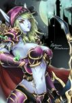 arrow blue_skin bow bow_(weapon) breasts cleavage elf hood large_breasts midriff pointy_ears sennoyume solo sylvanas_windrunner undead warcraft weapon world_of_warcraft