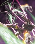 blurry depth_of_field eureka_7 eureka_seven eureka_seven_(series) highres hiro_(hibikigaro) laser mecha nirvash nirvash_typezero no_humans sky theend