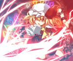 ascot blonde_hair blush chain chains fang flandre_scarlet hat highres laevatein magic_circle open_mouth red_eyes short_hair side_ponytail skirt solo the_embodiment_of_scarlet_devil touhou wings zamudelin