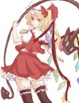 ascot black_legwear blonde_hair blush crystal flandre_scarlet frills hat hat_ribbon laevatein puffy_sleeves red_eyes ribbon short_hair short_sleeves side_ponytail skirt smile solo ten_ryuu_sadaaki the_embodiment_of_scarlet_devil thigh-highs thighhighs touhou weapon wings