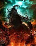 collateral_damage concept_art debris destruction dinosaur dragon epic fire genzoman glowing godzilla godzilla_(series) kaijuu legendary_pictures lightning monster mutant official_art ruins solo spikes