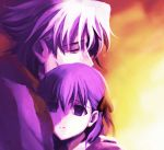 closed_eyes eyes_closed fate/stay_night fate/zero fate_(series) hair_ribbon hug male matou_kariya matou_sakura monakanoki purple_eyes purple_hair ribbon uncle_and_niece violet_eyes white_hair young ypung