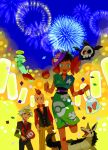 1girl 2boys bad_id chimecho confetti duskull elite_four fireworks flower fuyou_(pokemon) gum_(gmng) hair_flower hair_ornament holding japanese_clothes kagetsu_(pokemon) kimono luvdisc mask mightyena multiple_boys poke_ball poke_ball_theme pokemon pokemon_(creature) pokemon_(game) pokemon_rse sableye smile tsuwabuki_daigo