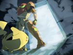 armor door dutch_angle fog gabu_kichi helmet light metroid nintendo pikachu pokemon reverse_trap samus_aran shadow super_smash_bros. weapon