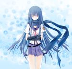 blue_hair crossed_arms gauntlets highres jajanuba long_hair red_eyes scarf school_uniform serafuku shiina_(angel_beats!)