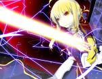 absurdres ahoge armor armored_dress bad_id blonde_hair brown_eyes dress excalibur fate/stay_night fate_(series) gauntlets glowing glowing_sword glowing_weapon hair_ribbon highres ribbon saber senya_fuurin solo sword weapon