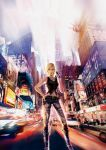 aya_brea bare_shoulders blonde_hair blue_eyes boots bracelet city city_lights gun hand_on_hip handgun highres hips jeans jewelry landmark midriff motion_blur navel necklace new_york official_art parasite_eve parasite_eve_the_3rd_birthday pistol short_hair square_enix statue_of_liberty torn_clothes weapon