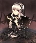 black_rose black_rose_(flower) chain chains cross dress flower frown gothic_lolita kneeling lolita_fashion long_hair moe_(hamhamham) petals purple_eyes ribbon rose rozen_maiden silver_hair solo suigintou violet_eyes water wings