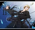2boys bad_id beard blonde_hair blue_eyes boots card cards cloak earrings facial_hair falling_card gloves grey_hair jewelry kingdom_hearts long_hair luxord multiple_boys omumu pointy_ears ponytail xigbar