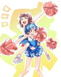 amami_haruka asphyxiation blue_hair brown_eyes brown_hair cheerleader choke_hold choking green_eyes hair_ribbon headlock idolmaster kisaragi_chihaya long_hair midriff piggyback pom_poms ribbon shoes short_hair skirt smile sneakers strangling sweat