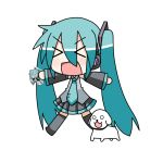 aqua_hair chibi chibi_miku detached_sleeves dog hamo_(dog) hatsune_miku headphones minami_(artist) necktie open_mouth outstretched_arms recursion skirt twintails vocaloid