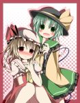 :d ascot blonde_hair blush bow fang fever flandre_scarlet green_eyes green_hair hand_on_chest hand_on_own_chest hat hat_bow kazura knees_touching komeiji_koishi long_sleeves multiple_girls open_mouth red_eyes skirt sleeves_past_wrists smile thermometer touhou wide_sleeves