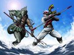 battle belt chain kamen_rider kamen_rider_x kamen_rider_x_(series) monster neptune_(monster) noq polearm scarf spear staff trident water weapon