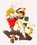 barefoot barnaby_brooks_jr belt blonde_hair brown_eyes brown_hair bunny_ears bunny_tail cabbie_hat carrying facial_hair fuukoym6886 genderswap glasses green_eyes hat jacket jewelry kaburagi_t_kotetsu kemonomimi_mode necklace necktie necktie_pull princess_carry red_jacket role_reversal short_hair shorts stubble studded_belt tail tiger_&_bunny tiger_ears tiger_tail vest waistcoat