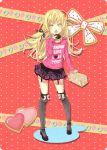 bakemonogatari blonde_hair blush box doughnut fangs hair_ribbon heart kouji_(campus_life) long_hair monogatari_(series) nail_polish open_mouth oshino_shinobu over-kneehighs plaid ribbon skirt solo t-shirt yellow_eyes