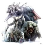 bad_id black_hair blade golem_(pokemon) kabutops nosepass omastar pink_legwear pokemon pokemon_(game) pokemon_rse skirt steelix tentacle tentacles tsutsuji_(pokemon) twintails