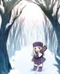 bad_id child dadami fate/stay_night fate/zero fate_(series) hat illyasviel_von_einzbern red_eyes smile snow solo tree waving white_hair winter young
