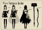 cape cross from_behind glasses gloves hammer highres long_hair looking_at_viewer monochrome necktie pixiv_fantasia pixiv_fantasia_wizard_and_knight pleated_skirt realmbw skirt solo standing thigh-highs thighhighs weapon zettai_ryouiki