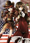 american_flag belt blue_eyes boots brown_eyes brown_hair cowboy_hat cross dress erica_fontaine freckles french_flag frills gemini_sunrise gloves hat highres instrument jacket jewelry kurokawa long_hair low-tied_long_hair maracas microphone microphone_stand multiple_girls necklace open_mouth red_hair redhead sakura_taisen sakura_taisen_iii sakura_taisen_v skirt smile thigh_strap western