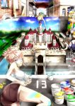 3girls ass bare_shoulders blonde_hair castle cloud hair_up hat looking_at_viewer lying multiple_girls nikki_(donbe) on_side optical_illusion original paint_can painting pink_eyes shorts sky tank_top what wink