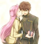 12oooo 1girl birthday blush brown_hair cheek_kiss closed_eyes code_geass couple euphemia_li_britannia eyes_closed female gift green_eyes hair_bun holding holding_gift jacket kiss kururugi_suzaku long_hair male maruki_(punchiki) miniskirt necktie open_mouth pink_hair punchiki school_uniform short_hair skirt smile uniform wink