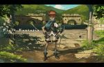 bad_id boots bow_(weapon) brown_eyes brown_hair cloud gauntlets gloves hand_on_hip hips horns letterboxed looking_at_viewer male mountain pixiv_fantasia pixiv_fantasia_wizard_and_knight ponytail quiver rounin_(amuza) shadow shield shorts sky standing weapon