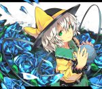 bow dress flower frills from_above green_eyes hat hat_bow komeiji_koishi letterboxed looking_at_viewer masshigura petals ruffles short_hair skirt smile solo third_eye toes touhou white_hair