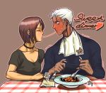 blush brown_hair choker closed_eyes collarbone dark_skin eating eyes_closed fork holding holding_fork holding_spoon king_of_fighters krizalid napkin profile rukiana short_hair silver_hair snk spoon sweat whip whip_(kof)