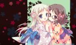 :d anjou_naruko ano_hi_mita_hana_no_namae_wo_bokutachi_wa_mada_shiranai black_hair blue_eyes braid child floral_background flower glasses hair_flower hair_ornament hand_holding holding_hands honma_meiko interlocked_fingers japanese_clothes kimono long_hair looking_at_viewer multiple_girls open_mouth santa_matsuri silver_hair smile tsurumi_chiriko yellow_eyes young yukata