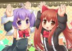2girls :d :o ahoge aloe animal_ears armpits blush bow brown_eyes brown_hair cat_ears detached_sleeves hands_up long_hair looking_at_viewer mizuno_mumomo multiple_girls myu_(quiz_magic_academy) open_mouth purple_hair quiz_magic_academy short_hair smile star twintails violet_eyes