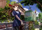 brown_hair daishou original pantyhose railroad_crossing railroad_tracks sailor_dress school_uniform tram tree