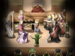 blonde_hair blue_eyes brown_hair cape cello closed_eyes earrings eyes_closed flute four_swords ganondorf gloves green_hair hairband harp hat highres imp instrument jewelry legemd link long_hair marimba midna multiple_persona nintendo ocarina_of_time organ pointy_ears princess_zelda red_eyes reverse_trap saria sheik skyward_sword spirit_tracks the_legend_of_zelda timpani trumpet twilight_princess violin wasabi_(legemd) wind_waker xylophone