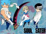 black_star death_the_kid maka_albarn official_art okubo_atsushi pantyhose soul_eater trio
