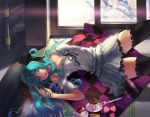 1girl aqua_eyes aqua_hair cake catwyz food hands hatsune_miku lips lipstick long_hair looking_at_viewer open_mouth pastry solo thighhighs twintails vocaloid world_is_mine_(vocaloid) zettai_ryouiki