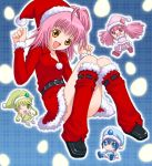 flat_chest guardian_chara hinamori_amu hoshikuzu_junction miki_(shugo_chara!) ran_(shugo_chara!) santa_costume short_hair shugo_chara! skirt suu_(shugo_chara!) thigh_highs