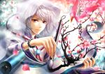 absurdres bird bracelet cherry_blossoms flower flower_petals haru_(toyst) highres jewelry male paintbrush petals purple_eyes scroll seigaiha short_hair solo violet_eyes white_hair
