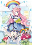 book cloud clouds dress earrings ei_(pakirapakira) hair_ornament hair_ribbon hair_rings highres jewelry jin_young-in mushroom open_book original pink_hair purple_eyes rainbow reading ribbon robot_joints sitting solo usb violet_eyes