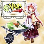 bad_id carrot daikon dress kanna_(plum) lettuce long_hair original ponytail red_hair redhead solo vegetable wheelbarrow