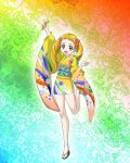 blonde_hair clog_sandals furisode hadime hajime_(caramel_toone) japanese_clothes kasugano_urara kimono leg_lift legs microphone precure pretty_cure rainbow_background short_kimono smile solo tabi twintails yellow_eyes yes!_precure_5 yes!_pretty_cure_5 zouri