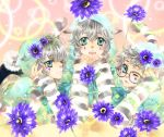 animal_ears aqua_eyes cat_ears cat_tail fangs flower glasses hina hoodie lee_sun_young multiple_boys open_mouth original silver_hair tail wink