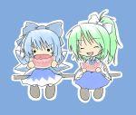 2girls artist_request bad_id blue_hair cirno daiyousei eating food fruit green_hair multiple_girls touhou watermelon wings