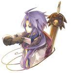 ahoge black_eyes black_gloves decus fruit_punch fur_trim gloves long_hair male paper ponytail purple_hair smile solo sword tales_of_(series) tales_of_symphonia tales_of_symphonia_knight_of_ratatosk weapon