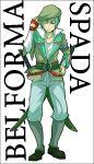 adjusting_hat boots character_name coat gloves green_hair grey_eyes hat male pants solo spada_belforma sudachips sword tales_of_(series) tales_of_innocence weapon white_background wink